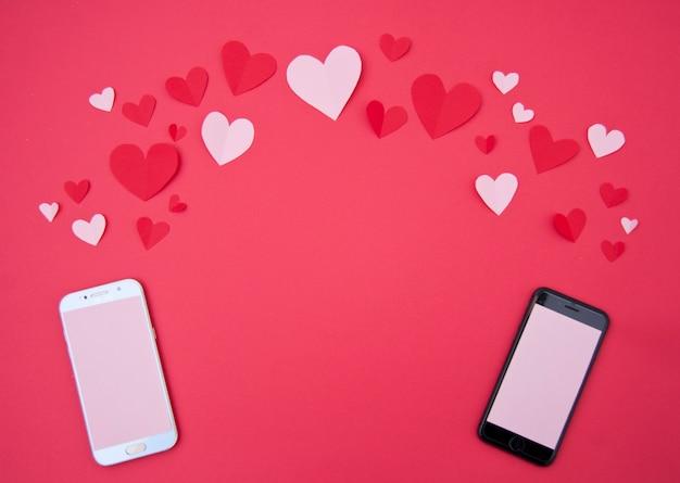 Llamada de los amantes - concepto de san valentín Foto gratis