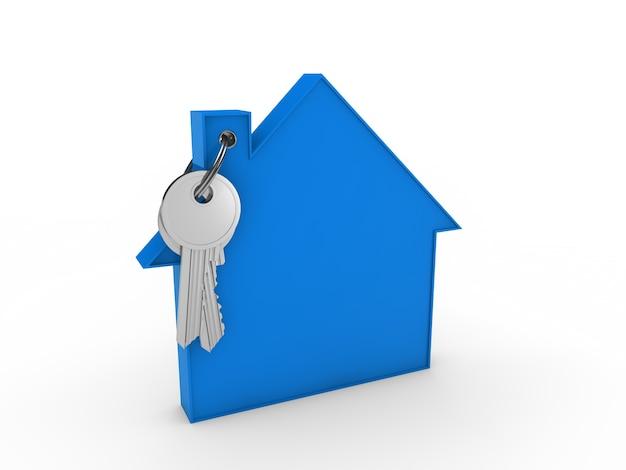 Llave con llavero de casa azul Foto gratis