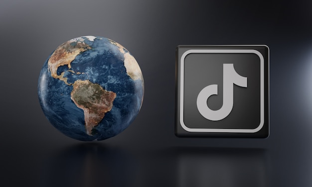 Logotipo de tiktok al lado de earthrender. Foto Premium