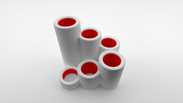 Logotipo de tubos huecos de diferentes longitudes alineados en forma de escalera con interior rojo. representación 3d Foto Premium