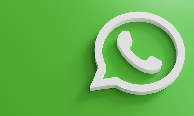 Logotipo de whatsapp minimalista plantilla de diseño simple. copy space 3d Foto Premium