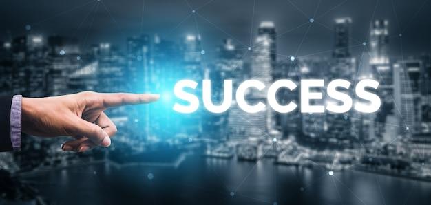 Logro y éxito de objetivos de negocio Foto Premium