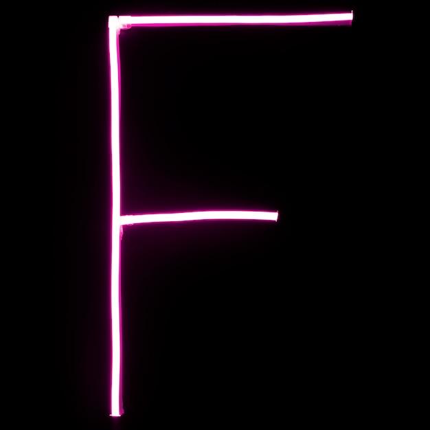 Luces de neón rosadas del alfabeto en fondo negro Foto gratis