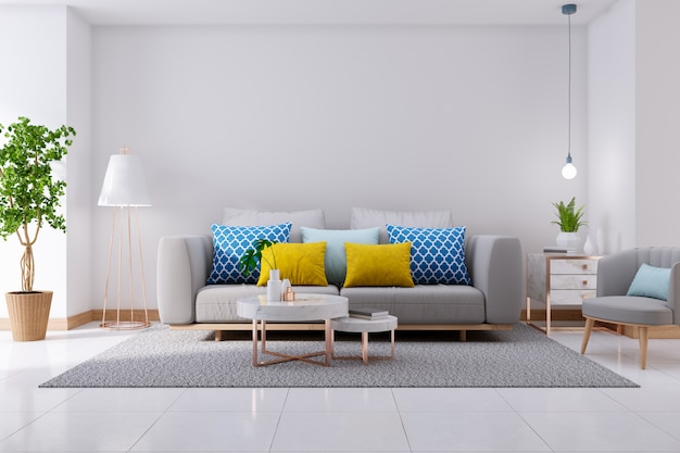 Lujoso interior moderno de sala de estar, sofá gris en pisos blancos y paredes blancas, render 3d Foto Premium