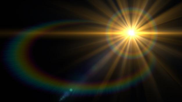 Luz de destello de lente sobre fondo negro. Foto Premium
