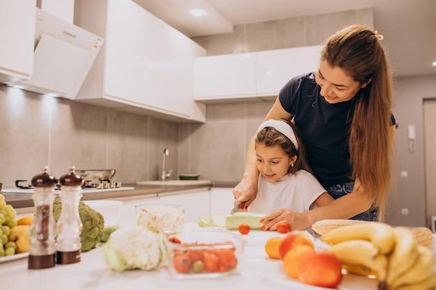 Madre con hija pequeña cocinando juntos en la cocina Foto gratis