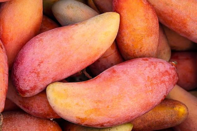 Mango rojo fresco maduro listo para vender - concepto de fondo de fruta Foto gratis