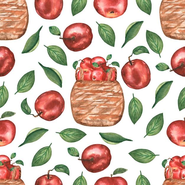 Mano acuarela dibujada de patrones sin fisuras con flores de manzana Foto Premium