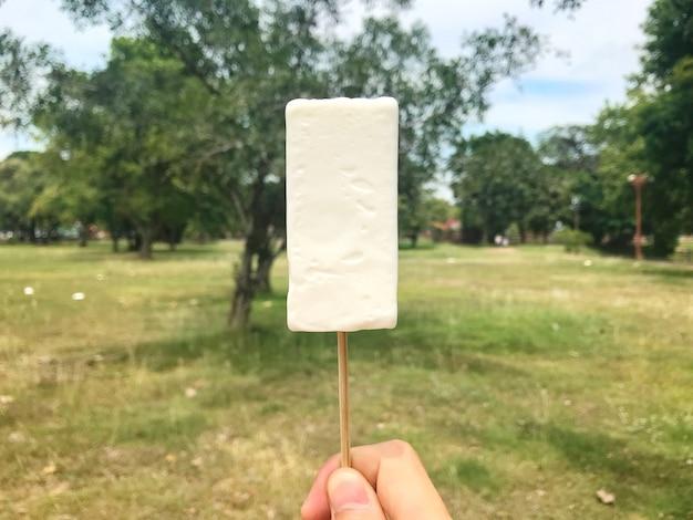 Mano holdind helado antiguo corte Foto Premium