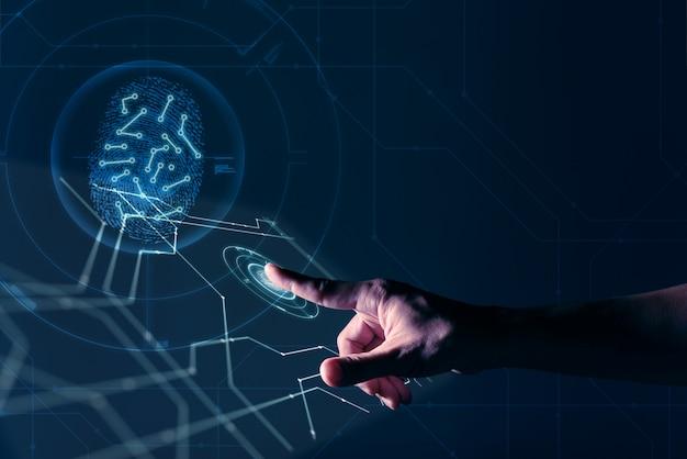 La mano del hombre que trabaja en la pantalla digital con huella digital de identificación personal de seguridad Foto Premium