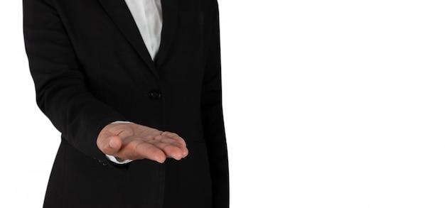 Mano de persona de negocios como si estuviera sosteniendo algo, Foto Premium
