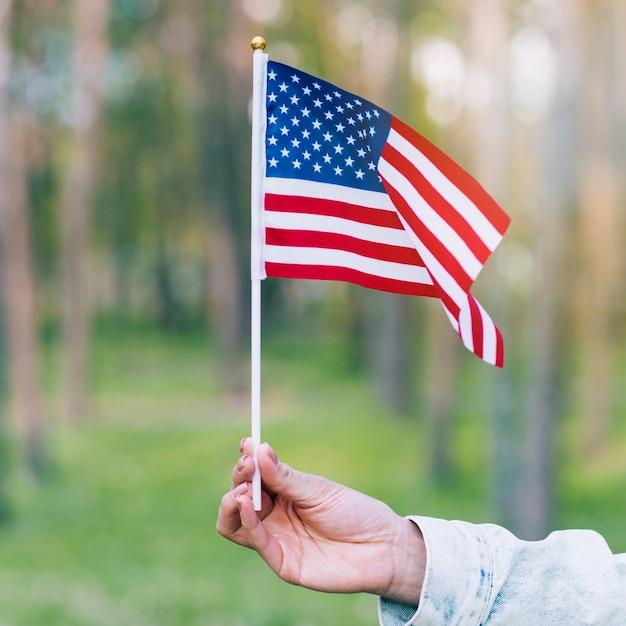 Mano que sostiene la bandera ondeando de estados unidos Foto gratis