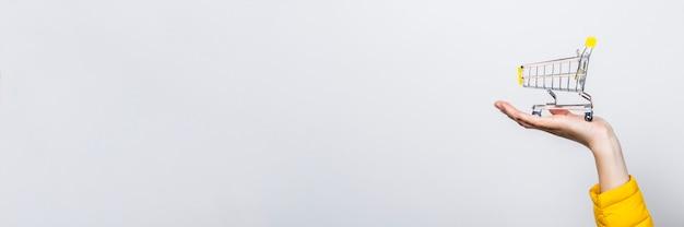 Mano sujetando el carrito de compras en una luz Foto Premium