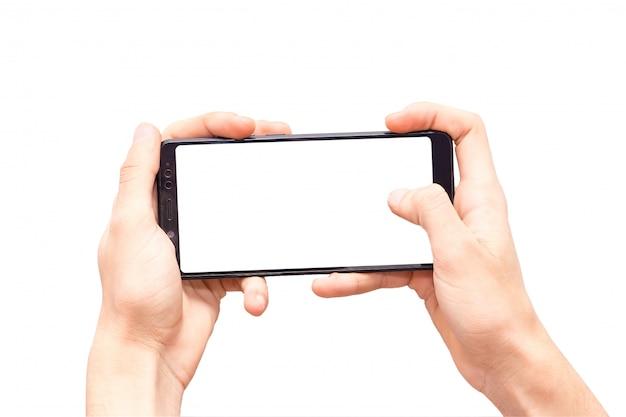 Manos aisladas con teléfono de cerca, manos jugando teléfono Foto Premium