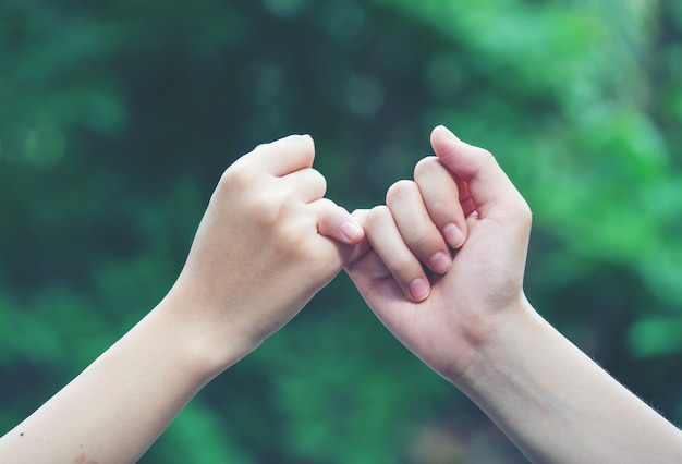 Las manos se enganchan el dedo meñique en el fondo de la naturaleza Foto Premium