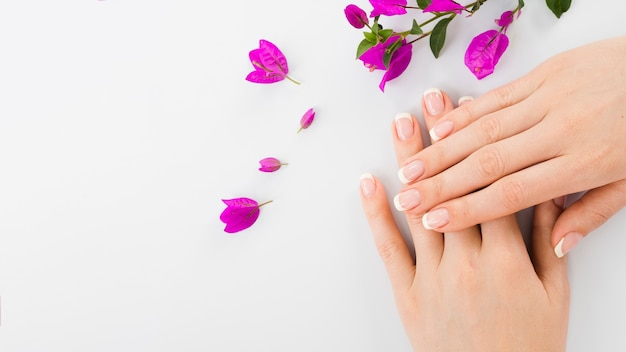 Manos y flores de mujer con copia espacio. Foto gratis