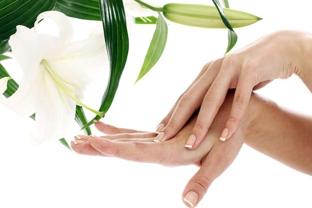 Manos de mujer y flor de lilly Foto gratis