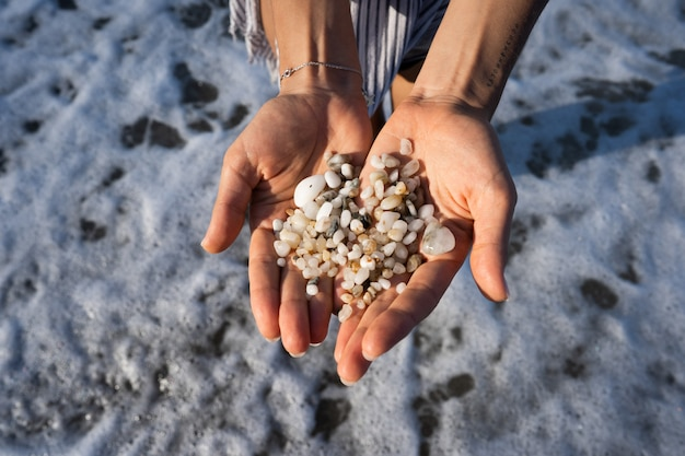 Las manos de las mujeres sostienen muchas piedras pequeñas Foto gratis