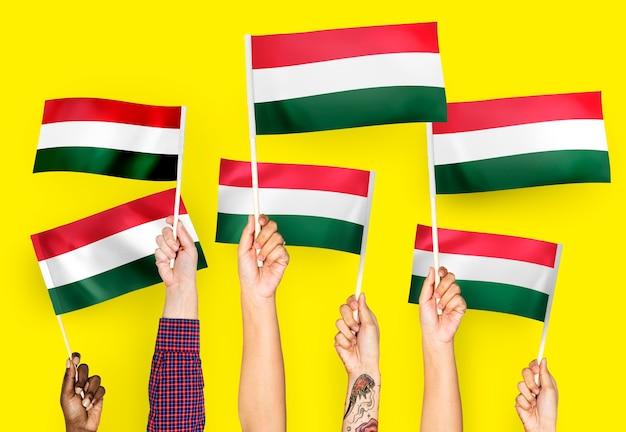 Manos ondeando banderas de hungría Foto gratis