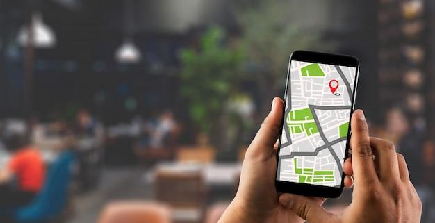 Mapa de gps a ruta conexión de red de destino ubicación mapa de calles con iconos de gps navegación Foto Premium