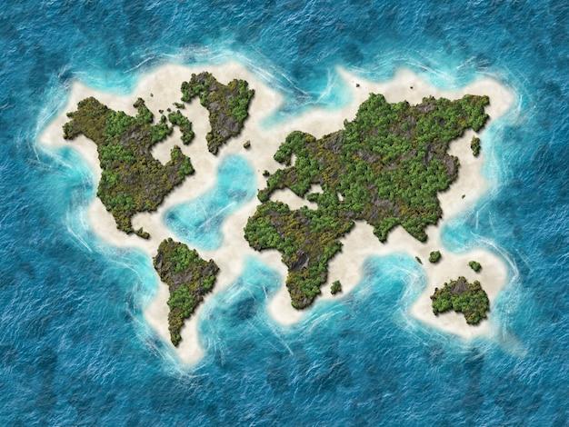 Mapa del mundo 3d Foto Premium