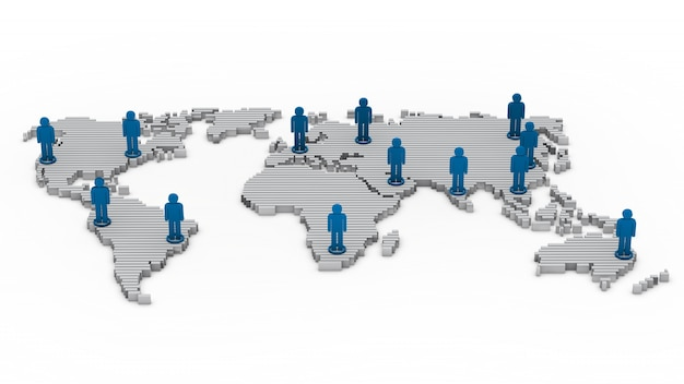 Mapa del mundo con monigotes Foto gratis