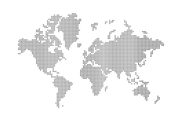 Mapa del mundo puntos sobre fondo blanco Foto Premium