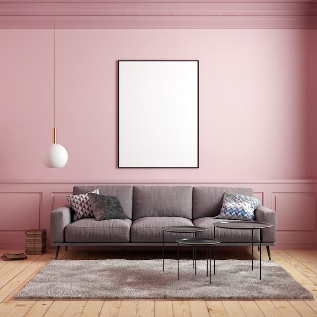 Maqueta del cartel en interior rosa con sofá y decoraciones Foto Premium