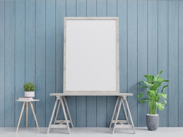 Maqueta interior para póster con marco vertical sobre repisas. representación 3d. Foto Premium