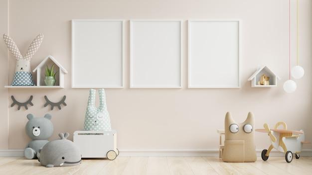 Maqueta interior, sala de niños, maqueta de marco de pared. Foto Premium