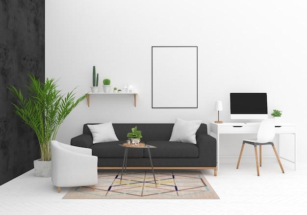 Maqueta de interiorismo con marco vertical. Foto Premium