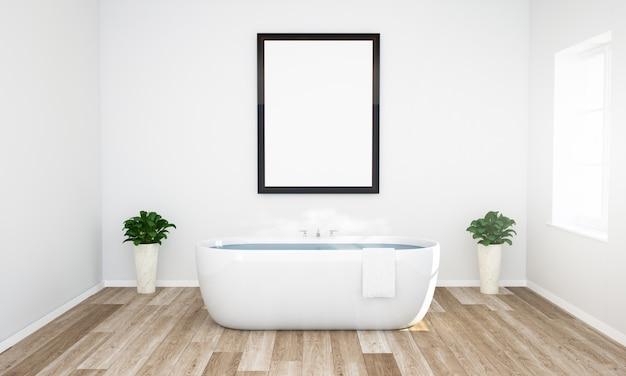 Maqueta de marco en un baño con agua tibia y piso de madera Foto Premium