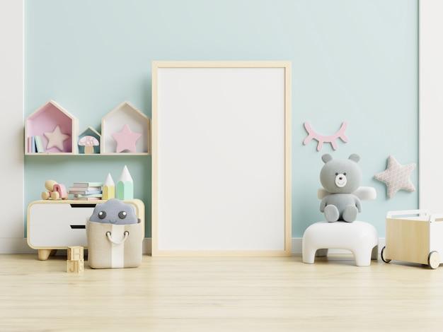 Maqueta marco de póster en la habitación de los niños, sala de niños, maqueta de guardería Foto Premium