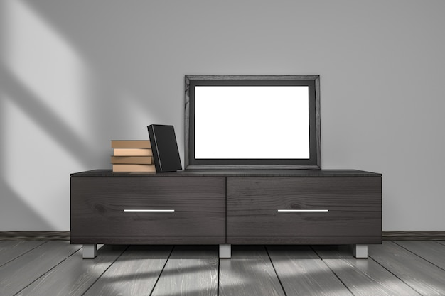 Maqueta de pantalla de marco de imagen en blanco y plantilla de libros de tapa negra en la sala de estar interior gris Foto Premium