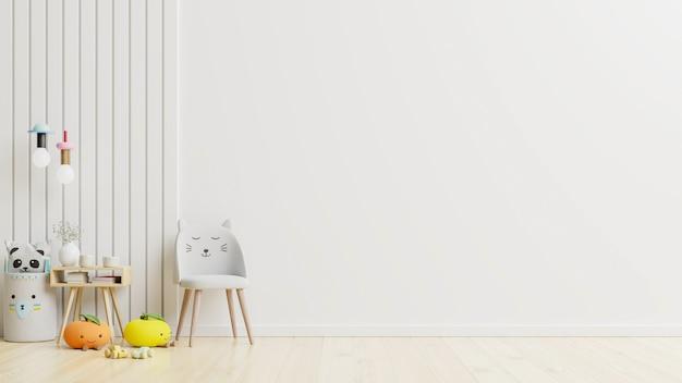 Maqueta de pared en la habitación de los niños en pared blanca. representación 3d Foto Premium
