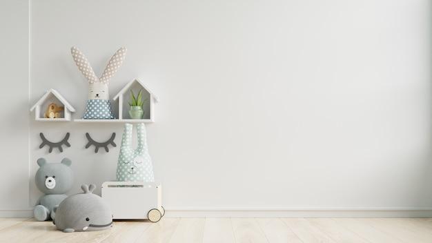 Maqueta de pared en la habitación de los niños sobre fondo de pared de colores blancos. Foto Premium