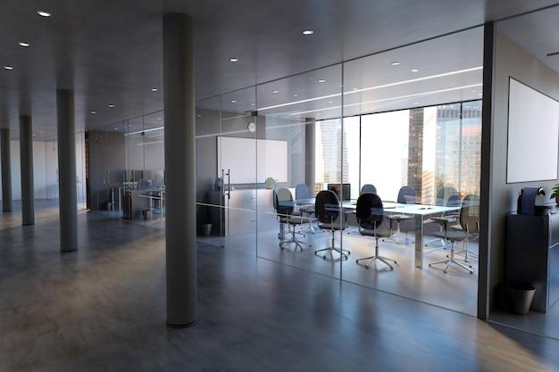Maqueta de pared de la sala de oficina de vidrio - 3d rendering Foto Premium