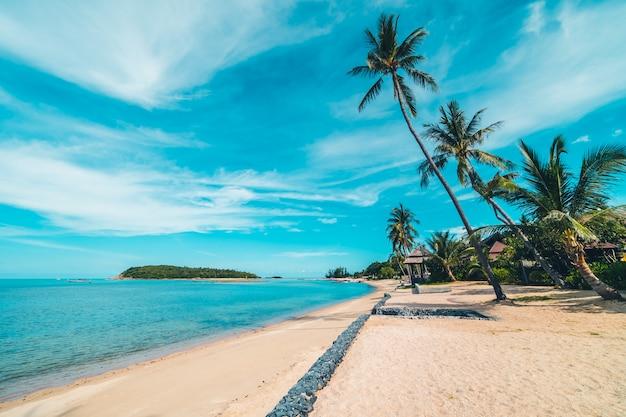 Mar y arena tropicales hermosos de la playa con la palmera del coco en el cielo azul y la nube blanca Foto gratis