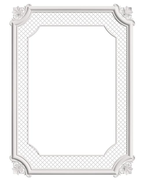Marco blanco clásico moldeado con decoración de adorno aislado Foto Premium