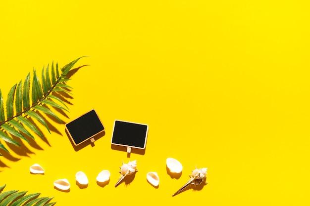 Marco en blanco con conchas en superficie brillante Foto gratis