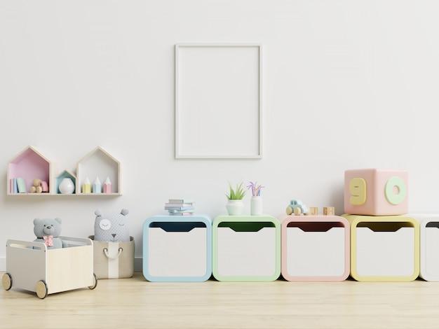 Marco en blanco en la habitación de los niños, sala de niños, guardería. Foto Premium