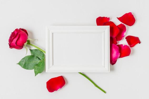 Marco blanco rodeado de rosas rojas Foto gratis