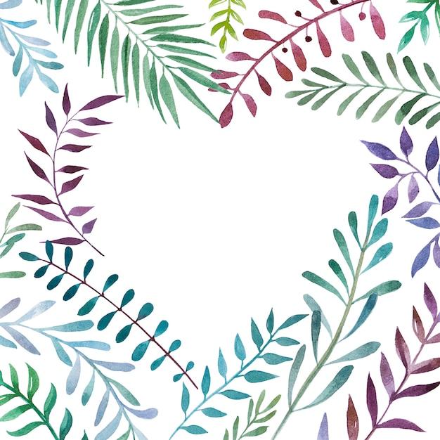 2616dbe273 Marco botánico de acuarela en forma de corazón. | Descargar Fotos ...