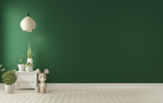 Marco del cartel en el interior de la sala de estar verde oscuro representación 3d Foto Premium