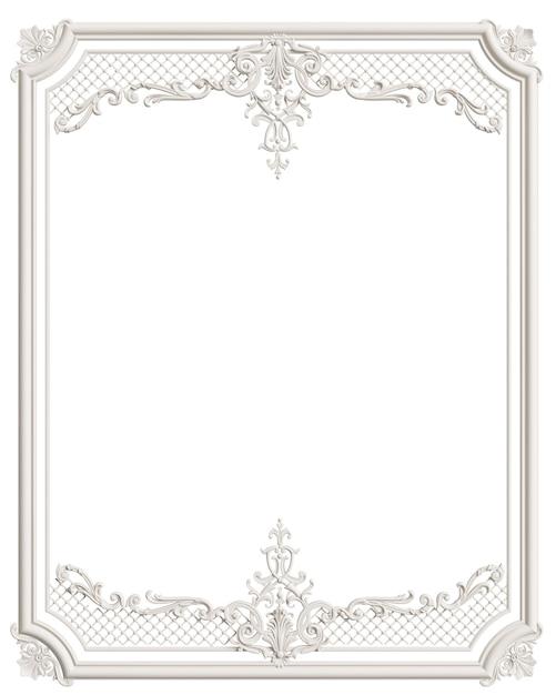 Marco clásico de moldura blanca con decoración de adorno para interior clásico aislado Foto Premium