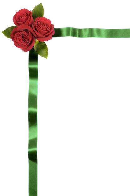 Marco con cinta verde y flores rojas   Descargar Fotos gratis