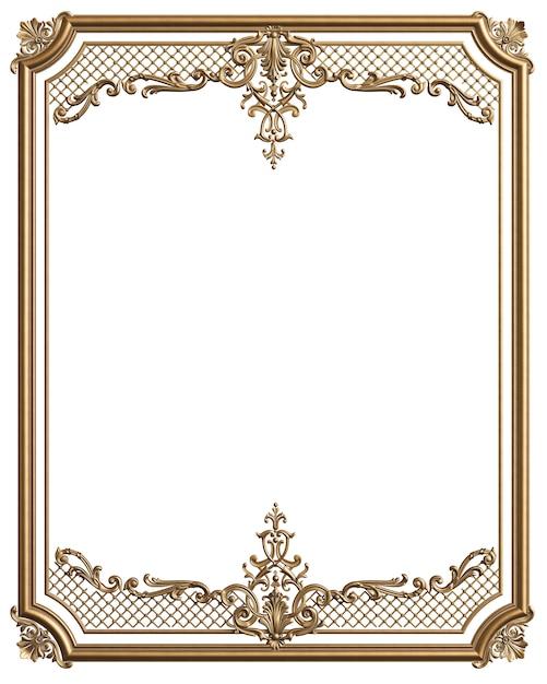 Marco dorado clásico moldeado con decoración de adorno para interior clásico aislado Foto Premium