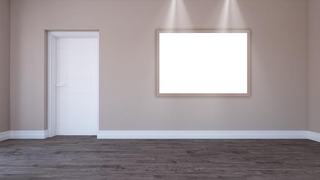 Marco en blanco 3d en una habitación vacía | Descargar Fotos gratis