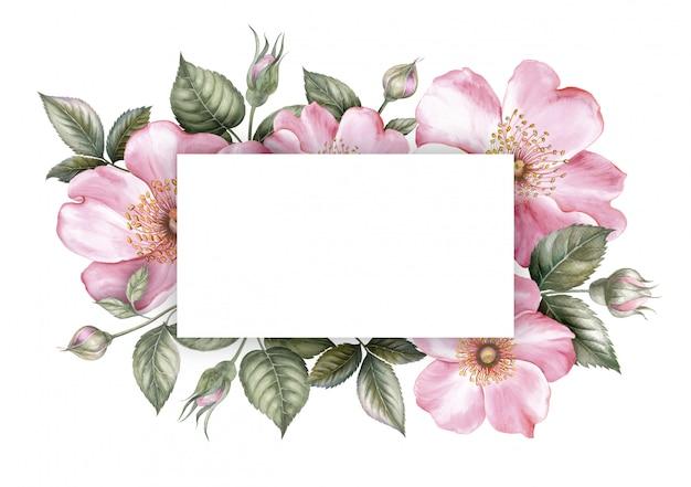 Marco de flor rosa sakura Foto Premium