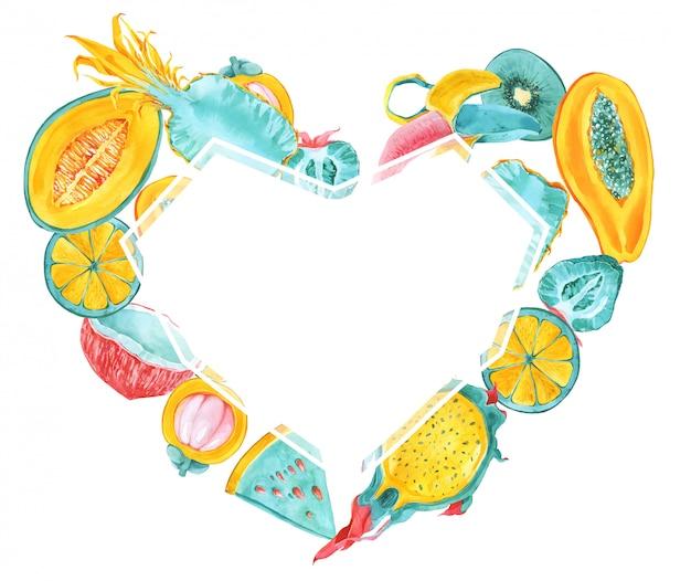 Marco de forma de corazón de frutas tropicales. moda verano color frutas exóticas frontera. fruta del dragón, pitaya, mangostán, carambola, plátano, carambola, papaya, aguacate. tarjeta de menta, amarilla, roja, rosa Foto Premium